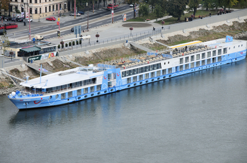 cruise ship on river in europe, docked