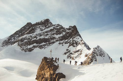 hike up the snowy mountain